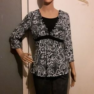 Christopher & Banks black and white floral top